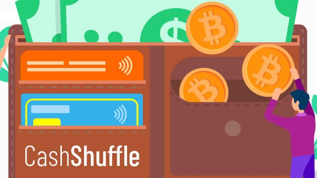 Modern and friendly graphics designed for a B2C fintech software application built around Bitcoin Cash called Cash Shuffle